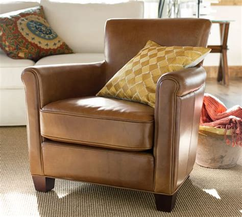 irving leather armchair pottery barn