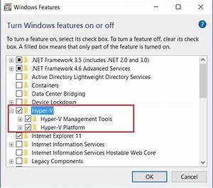 Windows 10 – Turn Windows feature on or off screenshot