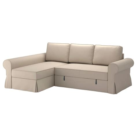 backabro cover sofa bed with chaise longue ramna beige ikea