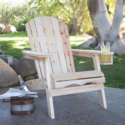 unfinished fir wood adirondack chair with retractable ottoman and drink holder wood