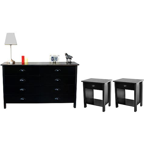 Walmart Dressers And Nightstands by Nouvelle Dresser And Pair Of Nightstands Set Black