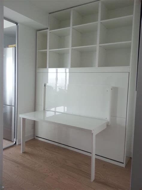 high gloss white murphy bed with desk contemporary