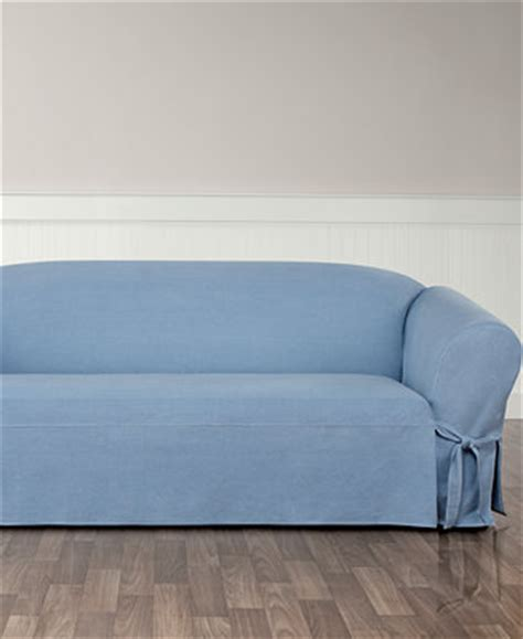 sure fit authentic denim one t cushion sofa slipcover slipcovers for the home macy s