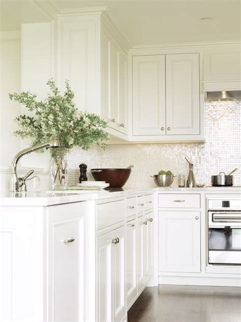 White Glass Tile Backsplash Kitchen Contemporary With