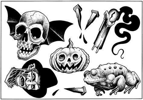 Collection Of 25+ Halloween Tattoo Flash