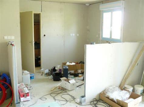 pose de petit muret en placo pour separation cuisine american salon salle amanger notre maison