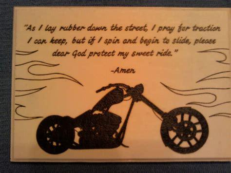 Motorcycle Prayer Wood Burning