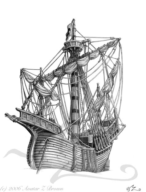 Medieval Boat Drawing by Carrack By Amarynceus On Deviantart