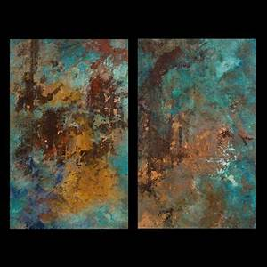 Kupfer Grüne Patina : copper canvases richly painted with patina inducing chemicals and highlighted with metal leafing ~ Markanthonyermac.com Haus und Dekorationen