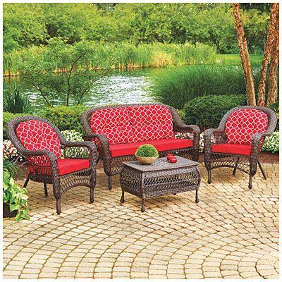 wilson fisher 174 nantucket 4 seating set with cushions at big lots porch