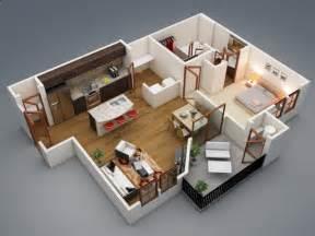 50 plans en 3d d appartement avec 1 chambres