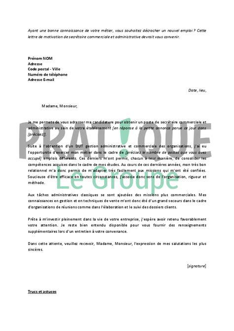 lettre de motivation pour un emploi de secr 233 taire commerciale et administrative pratique fr