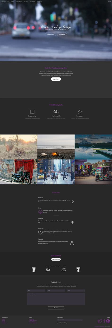 Free Bootstrap Video Background Template