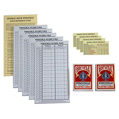 pinochle club pack pack of 5 score pads 2 decks bicycle pinochle cards 4 ebay