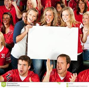 Fans: Excited Women Cheering With Blank Sign Stock Photo ...