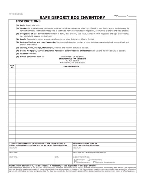 safe deposit box inventory form rev 485 safe deposit box inventory free download