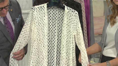 Joan Rivers Drape Front Crochet Cardigan With Long Sleeves With Jennifer Coffey