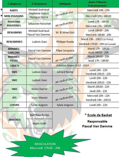 planning entrainements scac basket 2012 2013