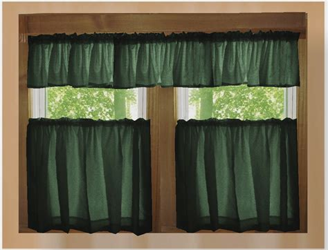 Solid Dark Forrest Green Café Style Tier Curtain (includes