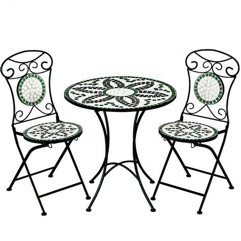 mosaic patio set floralis garden furniture set 1 table 2 foldable chairs ebay