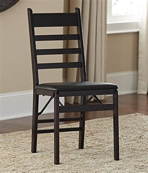 cosco 2 pack wood folding chair with vinyl seat and ladder back espresso furniture chairs