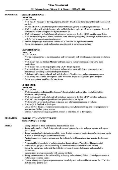 Ui Designer Resume Samples  Velvet Jobs
