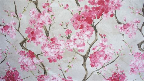 cherry blossom fabric pink grey floral by coralhomeaccessories