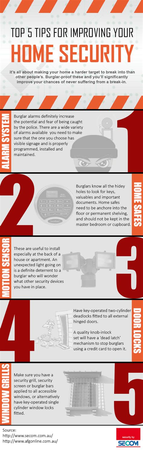 [infographic] Top 5 Tips For Improving Your Home Security From Secom Au  The Local Brand®
