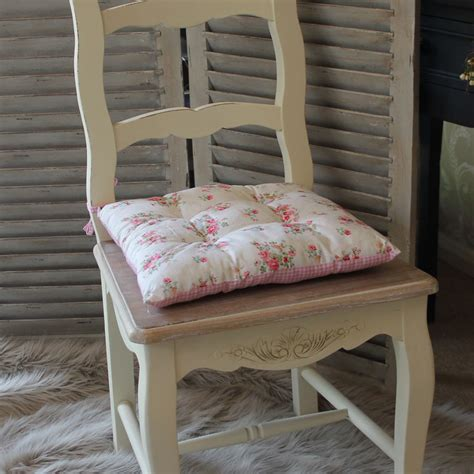 gingham pink vintage chic seat pad chair dining room