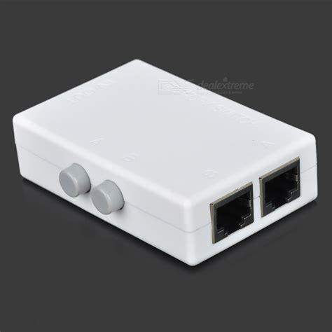 mini 2 port rj45 manual network switch white free shipping dealextreme