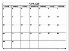 April 2018 Calendar Template yearly printable calendar
