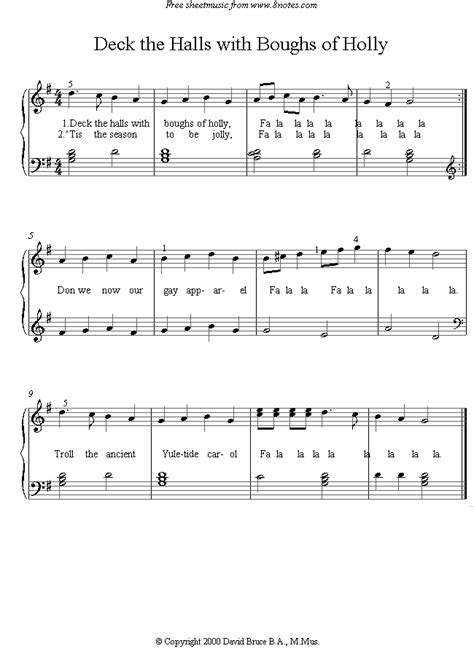 Deck The Halls Easy Piano by Deck The Halls With Boughs Of Holly Sheet Music For Piano