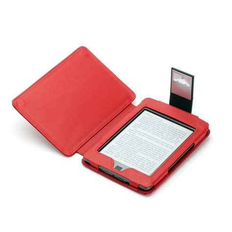 Kindle Touch Cover With Light by Red Genuine Leather Case For Kindle Touch With Slim Led Light
