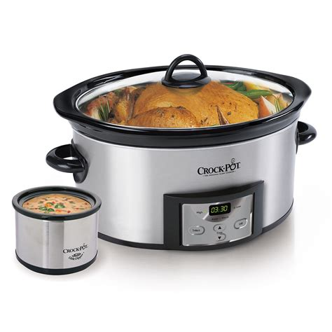 crock pot 174 countdown digital cooker with dipper 174 warmer stainless steel at crock