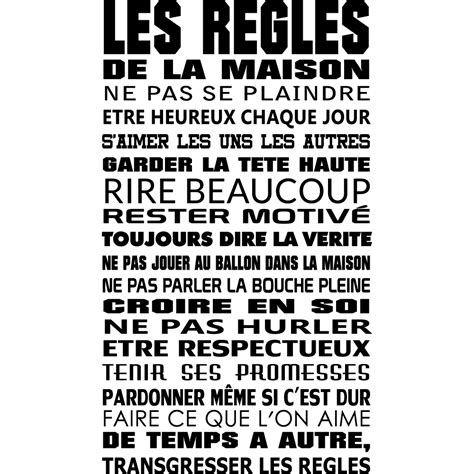 stickers citation les regles de la maison pas cher