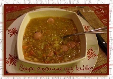 soupe paysanne aux lentilles la cuisine de lilly