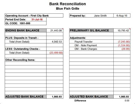 Trust Reconciliation Template bank reconciliation template beepmunk