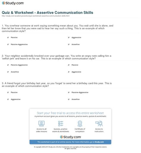 Assertiveness Skills Worksheets Free Worksheets Library  Download And Print Worksheets Free