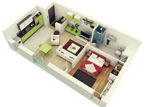 "3d Design : 50 One ""1"" Bedroom Apartment/house Plans"