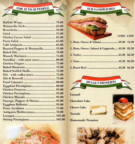 dusal s pizza and italian restaurant in kendall park eat in take out delivery catering