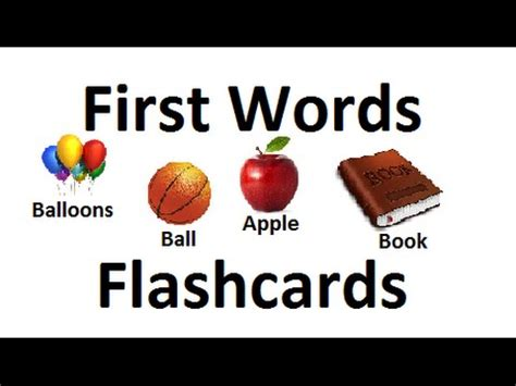 First Words Flashcards For Babies Toddlers Prek K  Learning Videos Youtube
