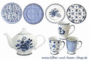 Geschirr Blau Weiß : geschirr blau wei im silber und rosen shop ~ Markanthonyermac.com Haus und Dekorationen