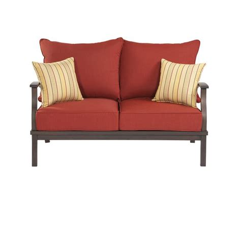 shop allen roth 2 gatewood brown aluminum patio loveseat and coffee table set at lowes