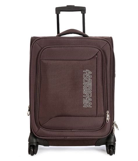 american tourister brown polyester 4 wheel trolly bag buy american tourister brown polyester 4