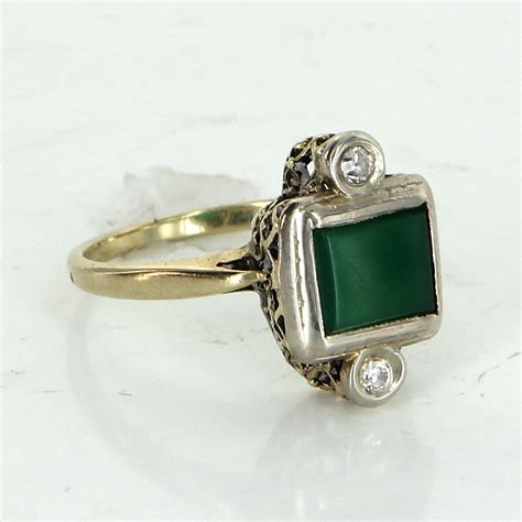antique deco chrysoprase cocktail ring vintage 14k gold estate jewelry ebay