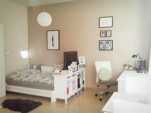 Schöne Zimmer Farben : sch ne wg zimmer einrichtungsidee gro es bett schreibtisch bilder und praktische kommode mit ~ Markanthonyermac.com Haus und Dekorationen