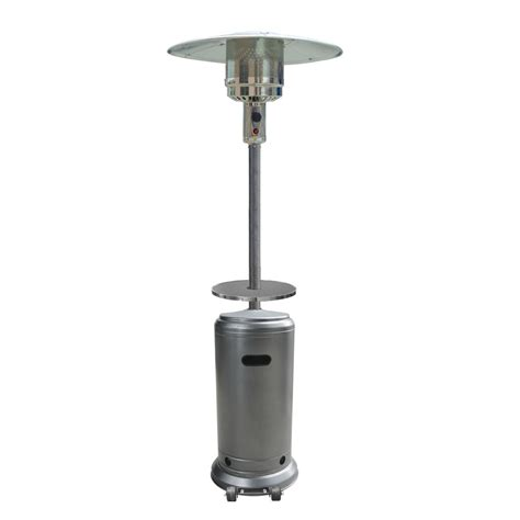 shop garden treasures 41 000 btu hammered silver steel liquid propane patio heater at lowes