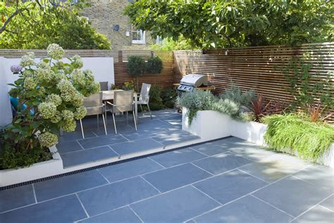 contemporary small family garden designers in clapham sw4 slate paving by garden builders