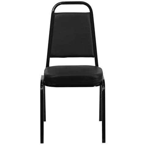 trapezoidal back stacking banquet chair with black vinyl and black frame finish ship