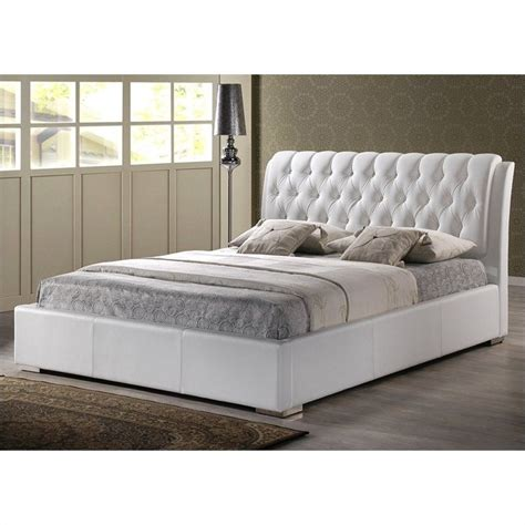king platform bed with tufted headboard in white bbt6203 white king bed